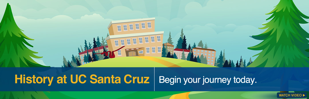 "Illustration of UC Santa Cruz on a hill. Trees, Porter ""Wave."""